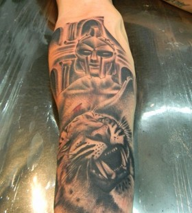 Gladiator and tiger tattoo