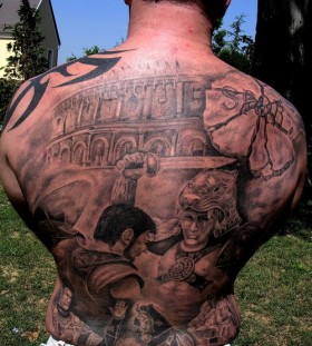 Gladiator full back tattoo