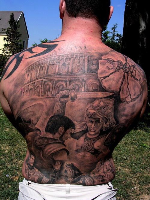Gladiator full back tattoo