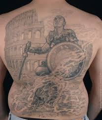 Gladiator with shield back tattoo