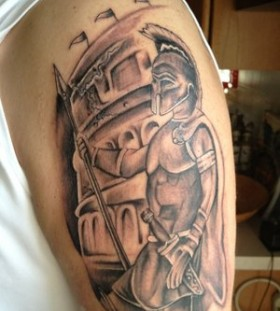 Gladiator with spear tattoo