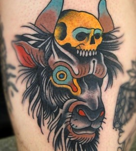 Goat and skull tattoo