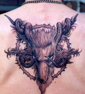 Goats' head back tattoo