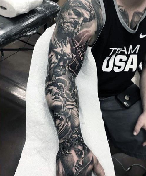 Gods statues full sleeve tattoos for men
