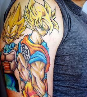 Goku and Vegeta super saiyan tattoo