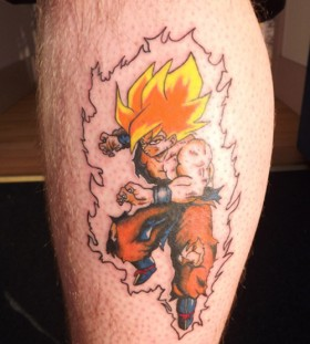 Goku super saiyan leg tattoo
