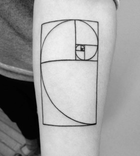 Golden mean black spiral tattoo