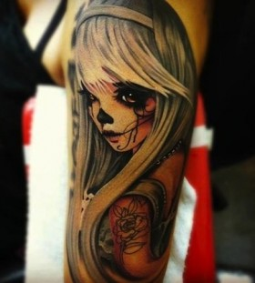 Gorgeous girl's anime tattoo