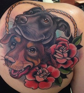 Gorgeous looking red rose and dog's tattoo