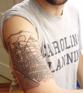 Gorgeous men's arm's architecture tattoo