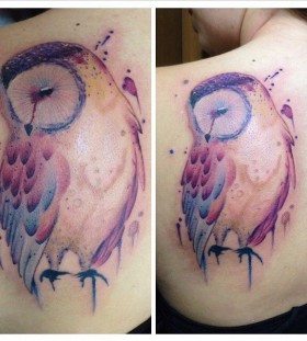 Gorgeous owl watercolor tattoo