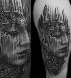 Gothic style girl's architecture tattoo