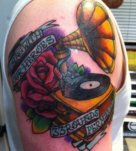 Gramophone and quote tattoo
