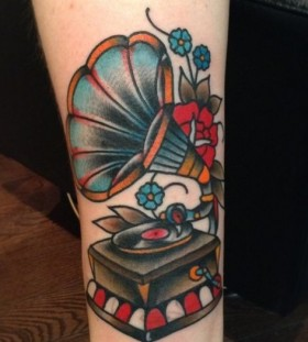 Gramophone tattoo by Nick Oaks