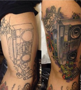 Great boombox leg tattoo