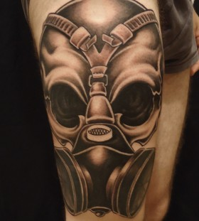 Great gas mask leg tattoo