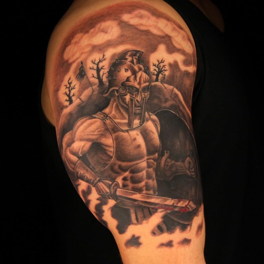 Great gladiator arm tattoo