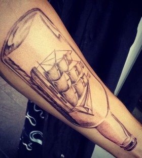 Great ship in a bottle tattoo