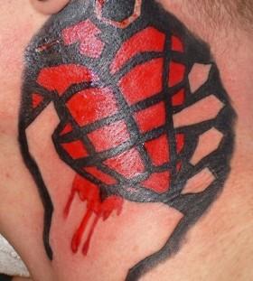 Green Day sign heart grenade tattoo