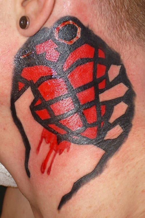 Green Day sign heart grenade tattoo