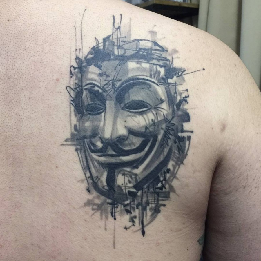 guy fawkes sketch style tattoo by ael lim singapore
