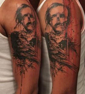 Half skull half human tattoo