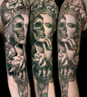 Half skull half woman tattoo by Ellen Westholm