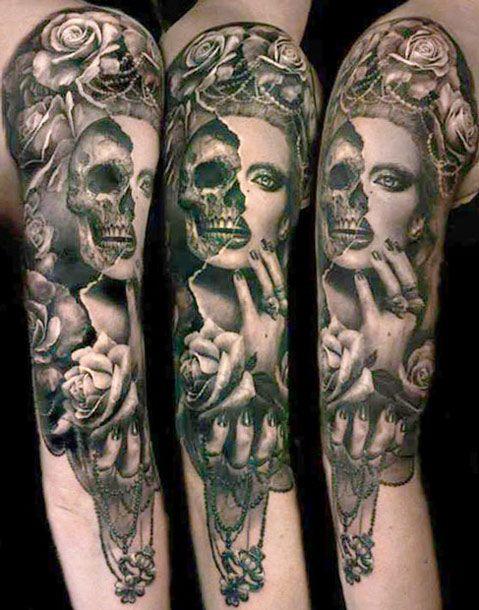 Half skull half woman tattoo by Ellen Westholm