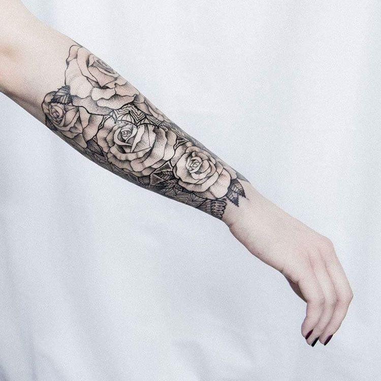 Blackwork Flower Tattoos