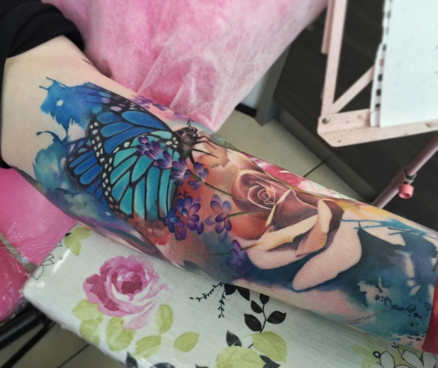 Watercolor Sleeve Tattoos