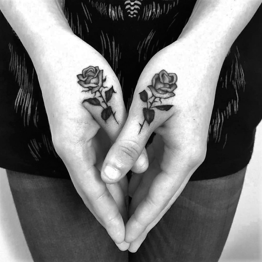 hand rose tattoos by adamvunoir