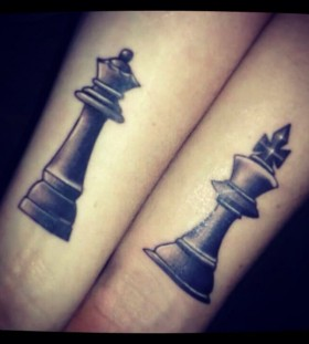 Hand's black chess tattoo