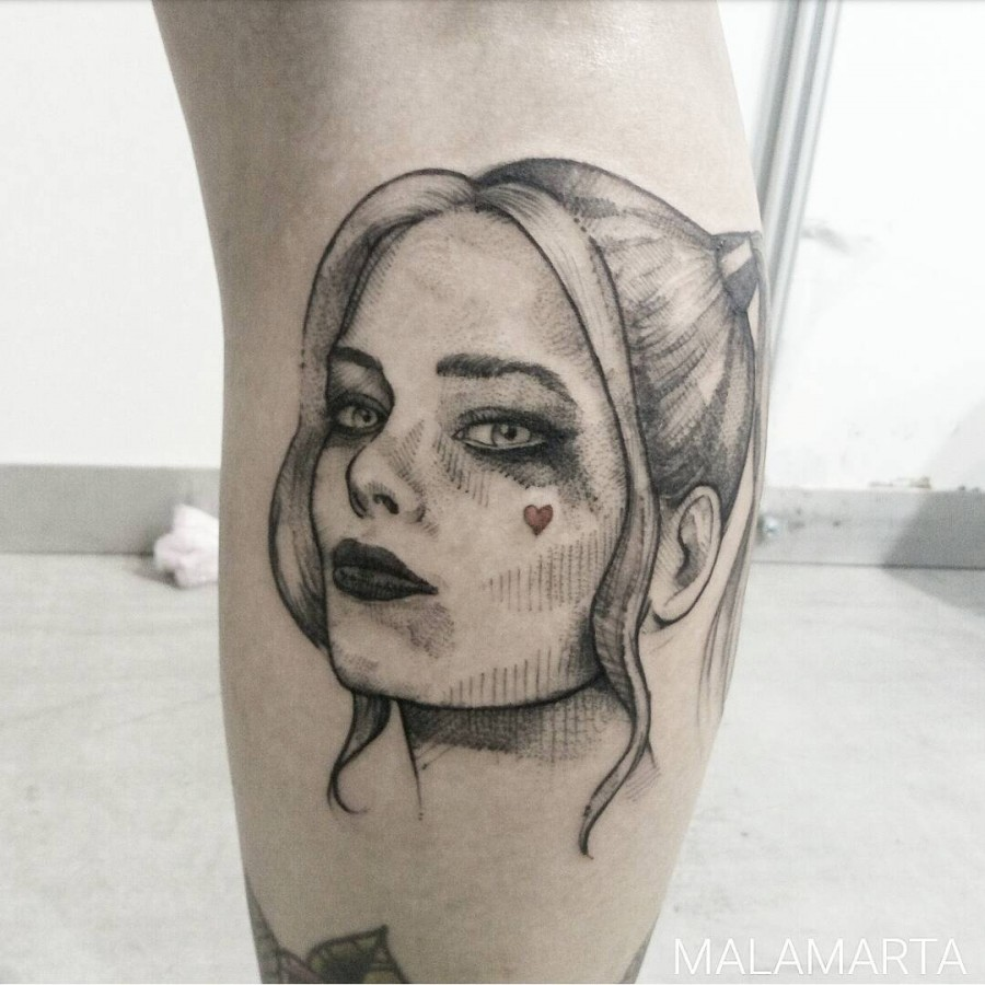 harley quinn sketch style tattoo by malamartaandink