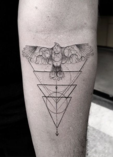Hawk and triangles tattoo by Dr Woo