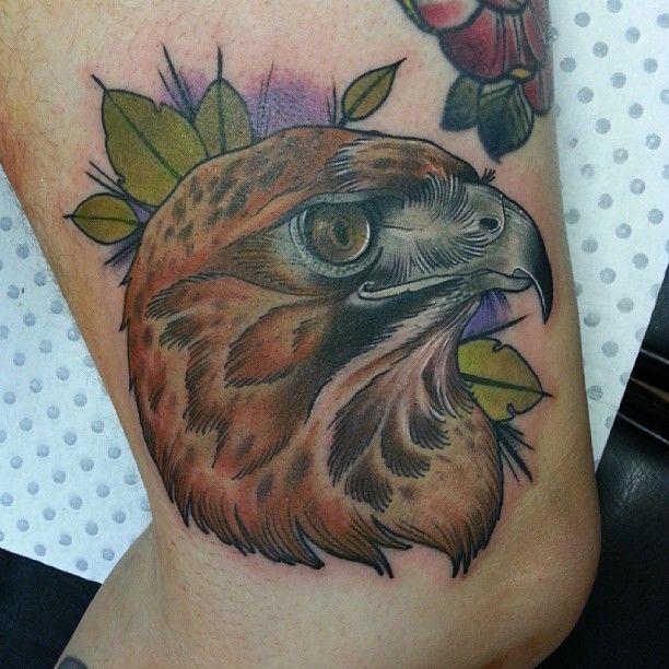 Hawk tattoo by Drew Shallis