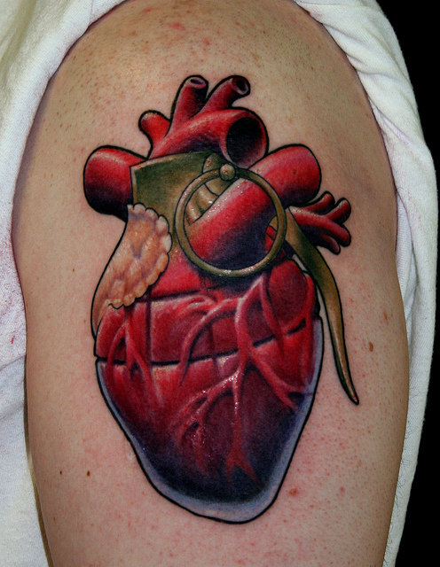 Heart grenade arm tattoo