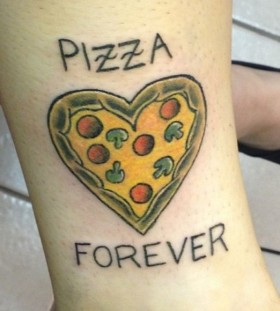 Heart tomatoes, mushrooms and pizza tattoo