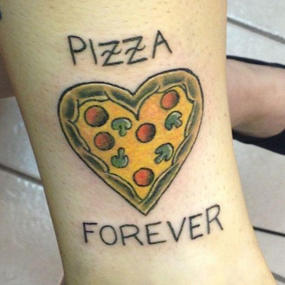 Heart tomatoes, mushrooms and pizza tattoo