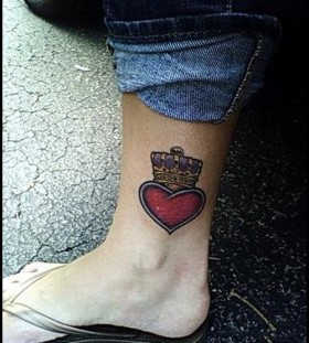 Heart with a crown ankle tattoo