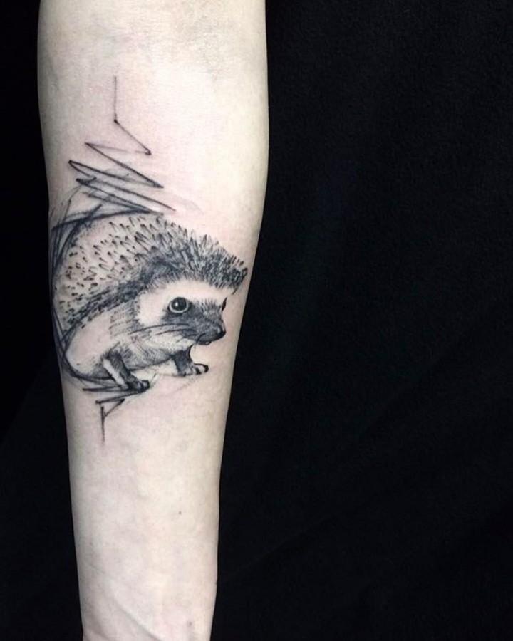 hedgehog sketch style tattoo by richard blackstar