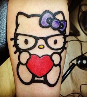 Hello kitty with heart tattoo