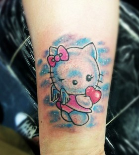 Hello kitty with wings tattoo