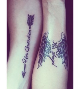 Her guardian His angel couple tattoo