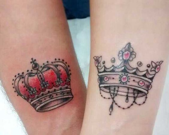 His and Her crown couple tattoos