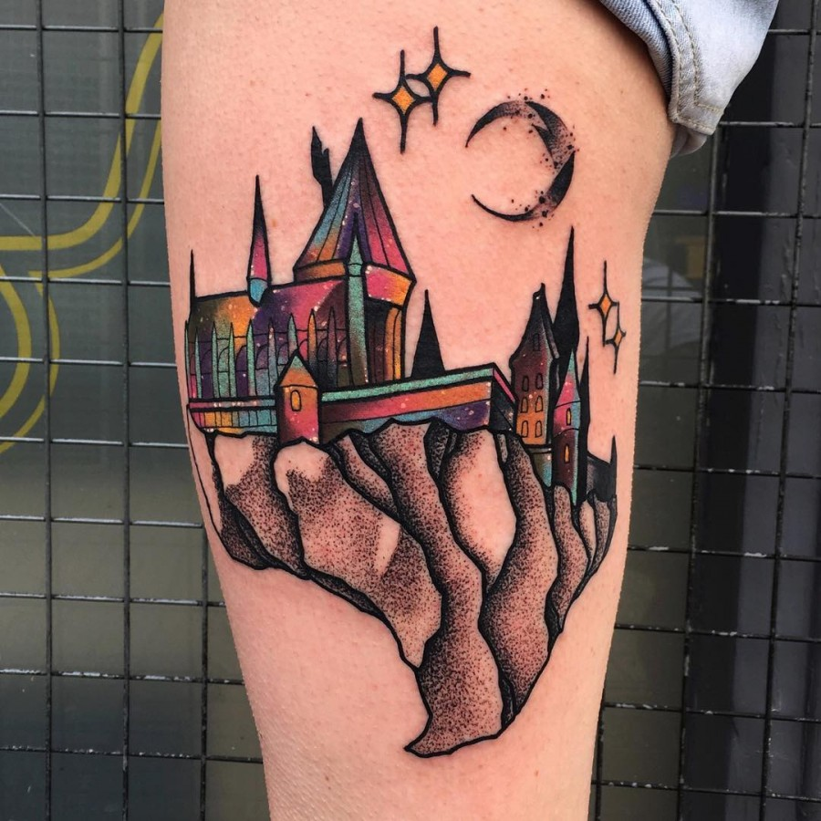 hogwarts tattoo by littleandytattoo