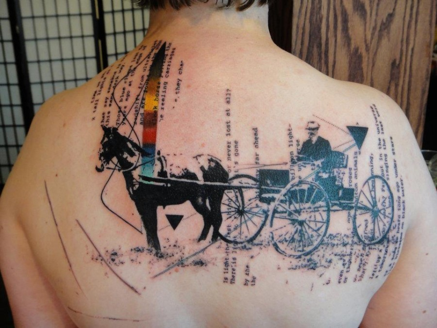 Horse and carriage xoil tattoo