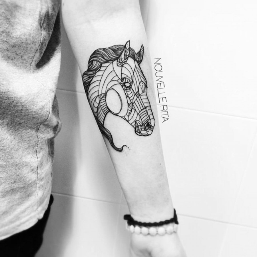 horse tattoo by nouvelle rita