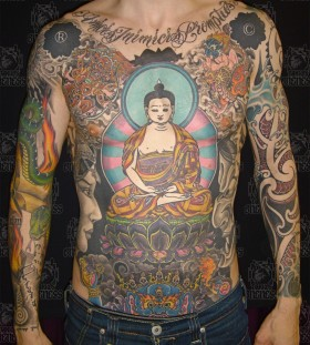 Huge buddha full body tattoo