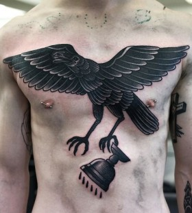 Huge crow chest tattoo by Philip Yarnell