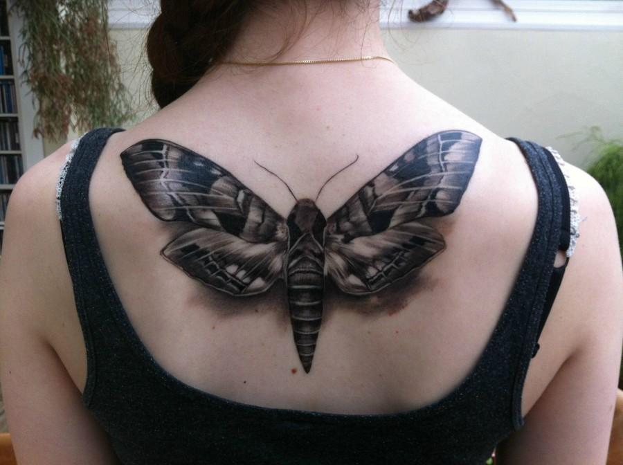Huge moth back tattoo